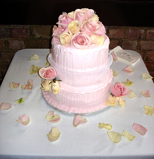 3 Tier Cake with Fresh Roses
