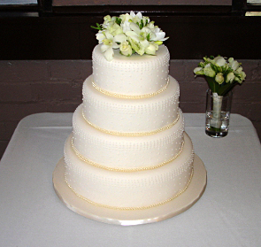 4 Tier Cake with Fresh Flower Topper