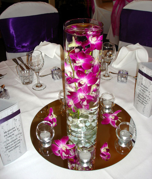 Cylinder Vase With Fresh Orchid