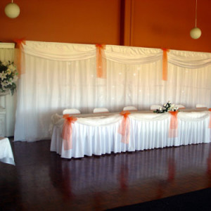 Bridal table backdrop with fairy lights