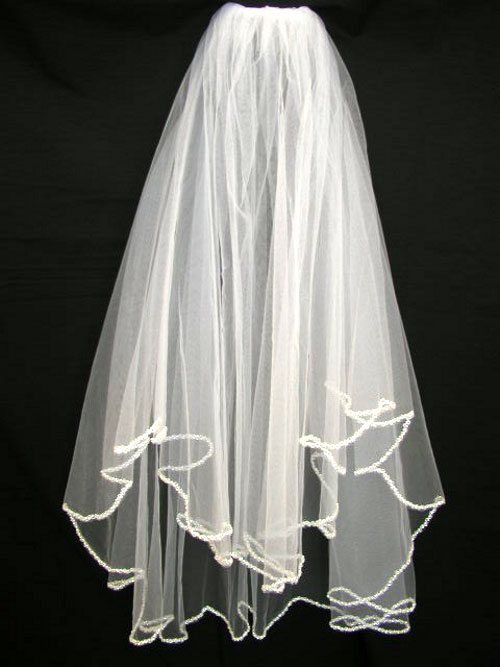 Beaded Edge White Veil