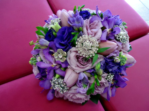 Deep Purple Mixed Flowers Featuring Jewels