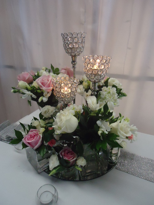 Crystal Tulip Candelabras With Fresh Flowers